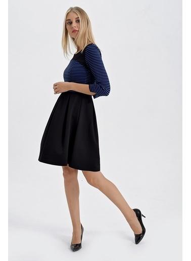 Jument Çizgili Dalgıç Kayık Yaka Capri Kol Elbise Saks